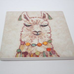 Hand Painted LLAMA Ceramic Tile Coaster